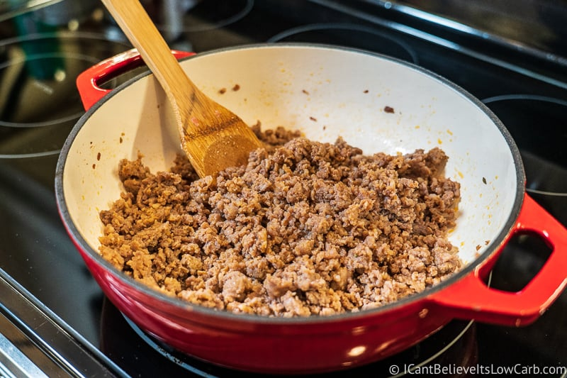 Keto Stuffing Recipe sausage in pan