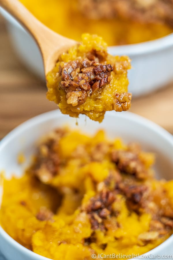 Butternut Squash Casserole on a spoon