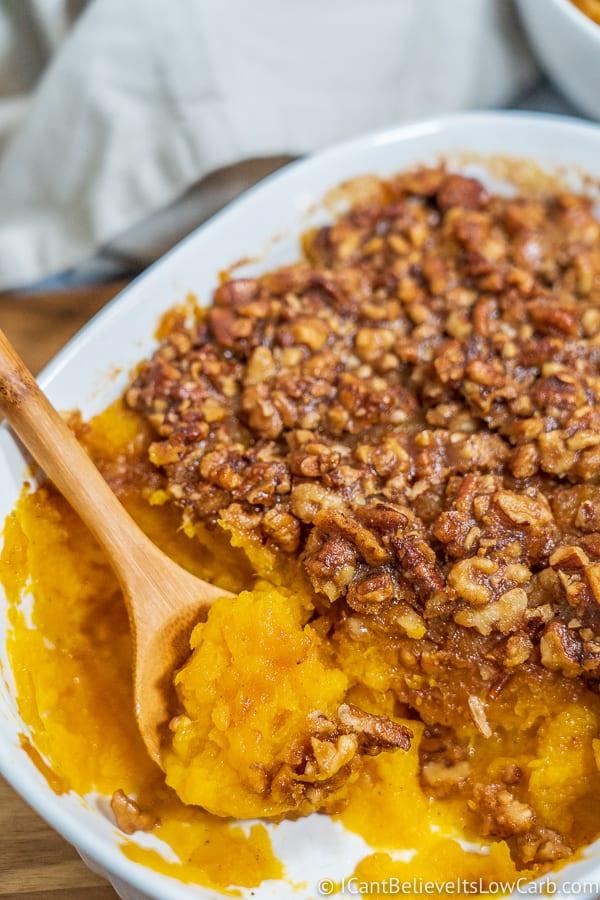 Keto Butternut Squash Casserole in a dish