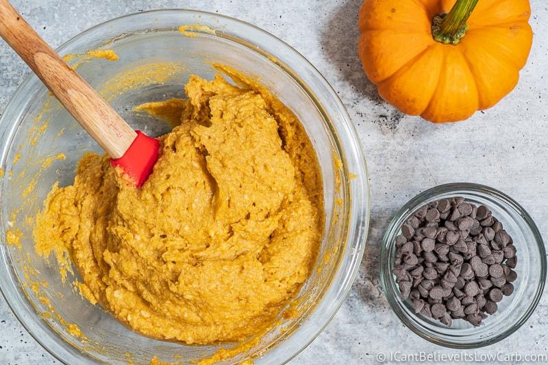 Pumpkin Chocolate Chip Cookies batter mixed up