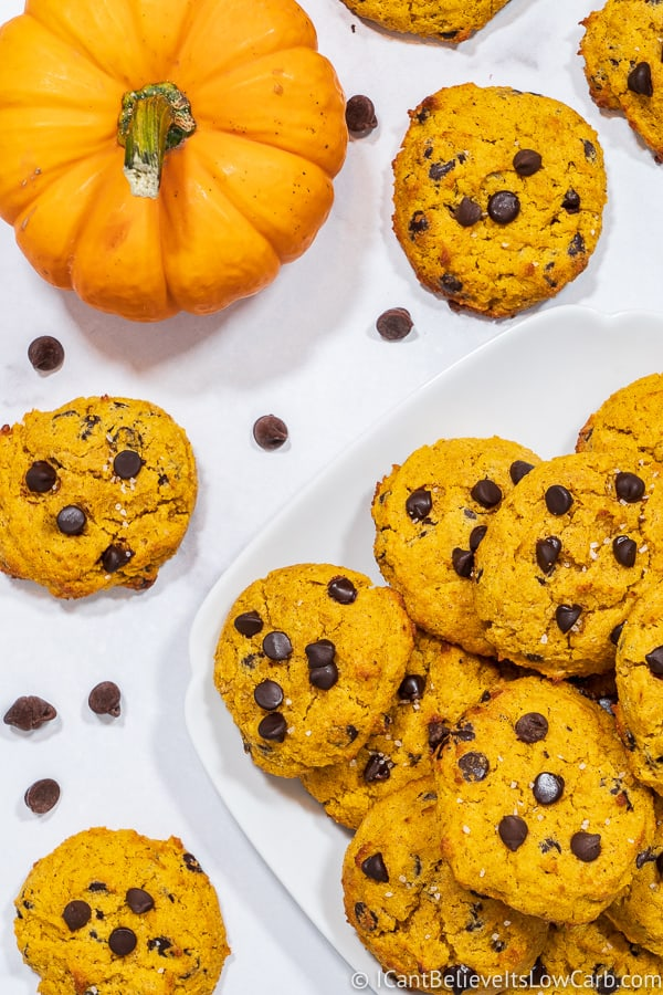 table of Low Carb Pumpkin Chocolate Chip Cookies