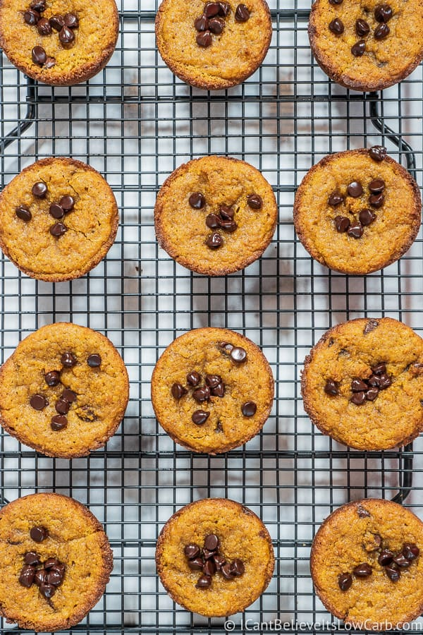 Pumpkin Chocolate Chip Muffins on a rack