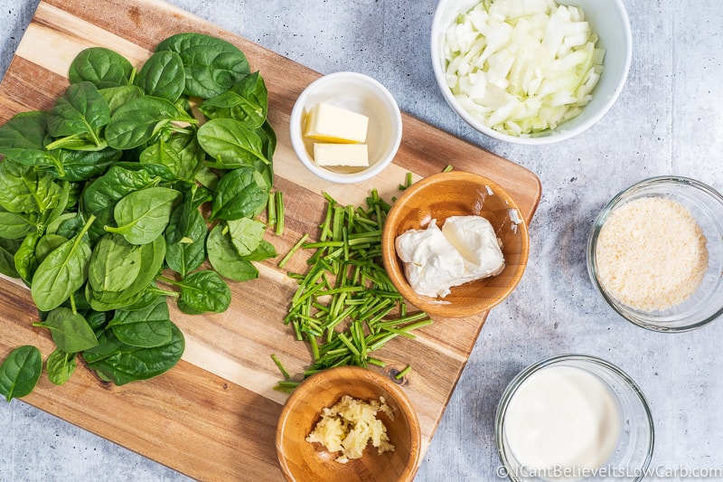 ingredients for Keto Creamed Spinach