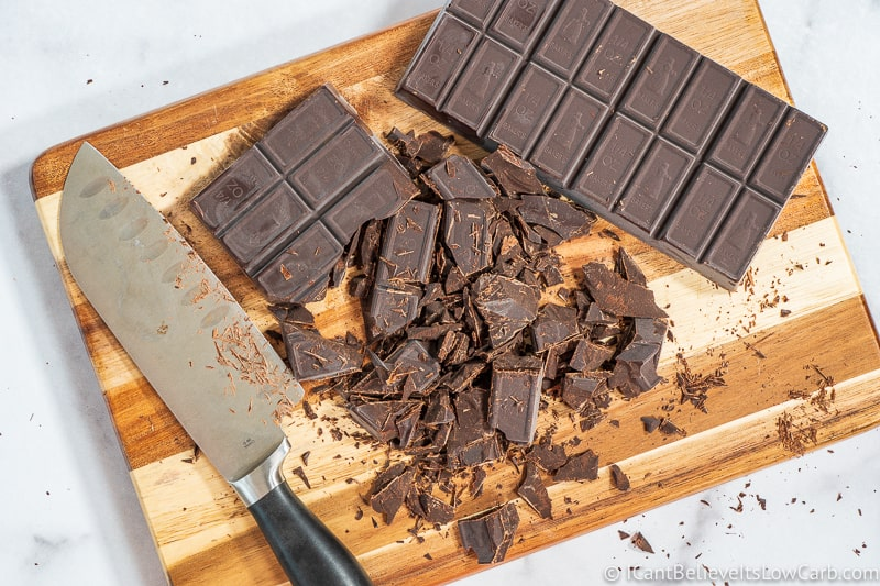 cutting chocolate for Keto Fudge