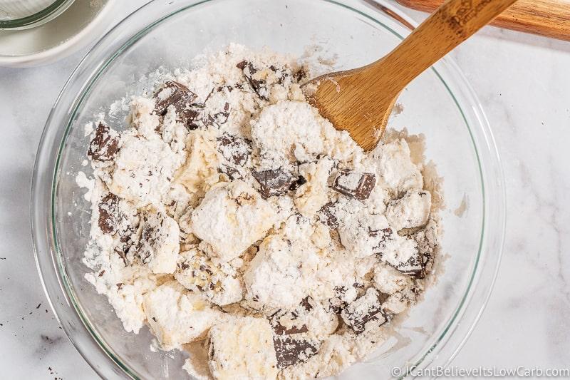 stirring up ingredients in Low Carb Fudge