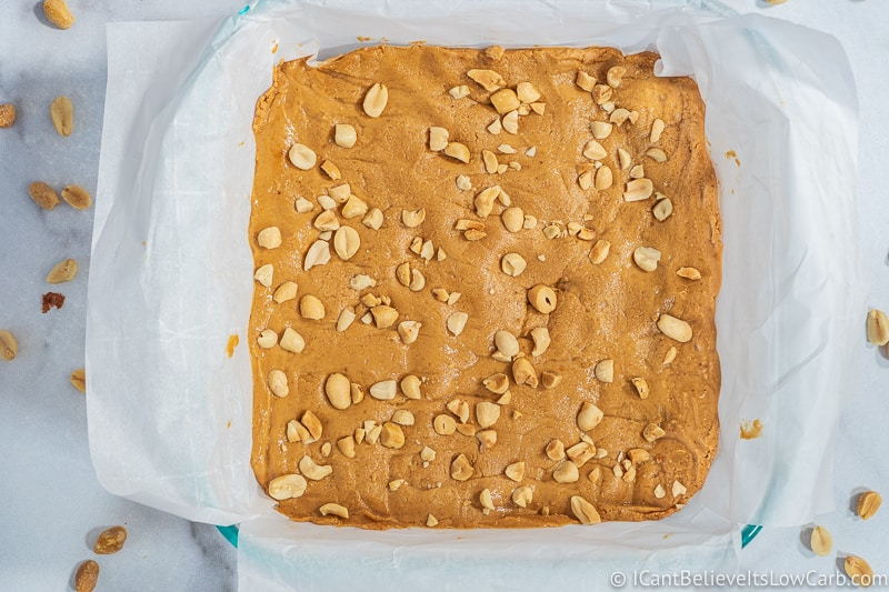 Low Carb Peanut Butter Fudge ready to eat