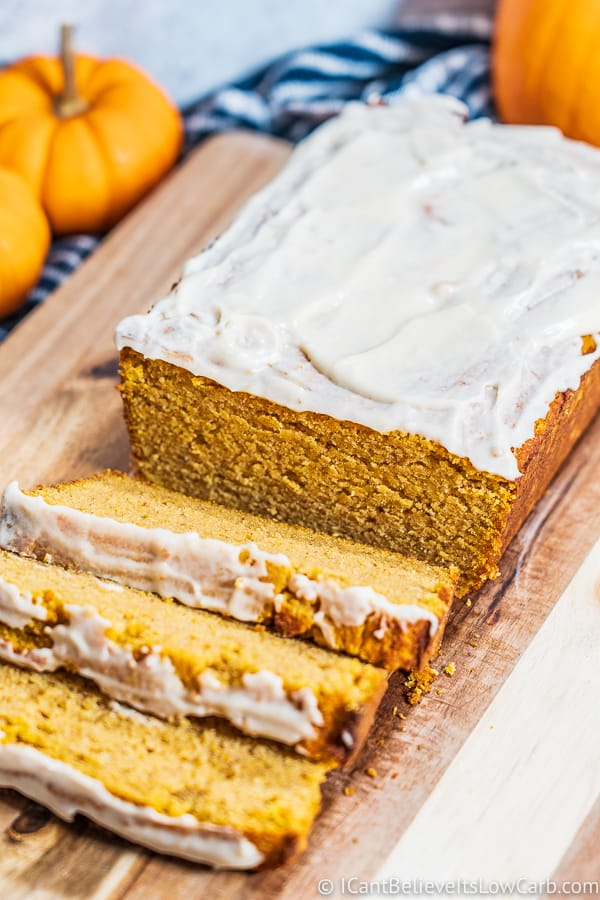 Low Carb Pumpkin Bread with icing
