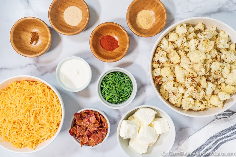ingredients for Loaded Cauliflower Casserole
