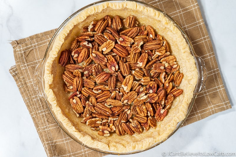 Pecans in an almond flour pie crust
