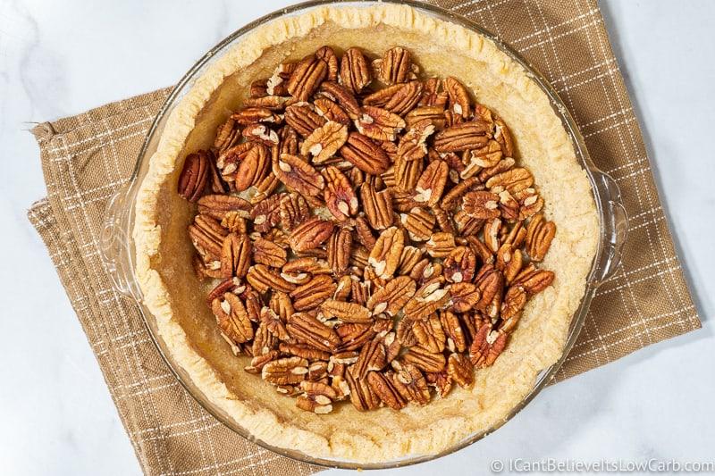 Pecans in an almond flour pie crust