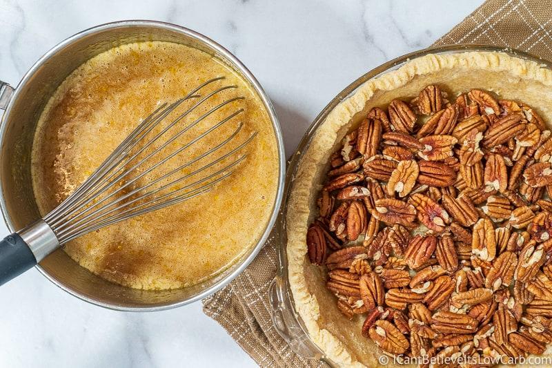 ready to pour filling for Keto Pecan Pie recipe