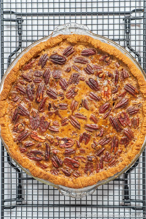 Keto Pecan Pie fresh out of the oven