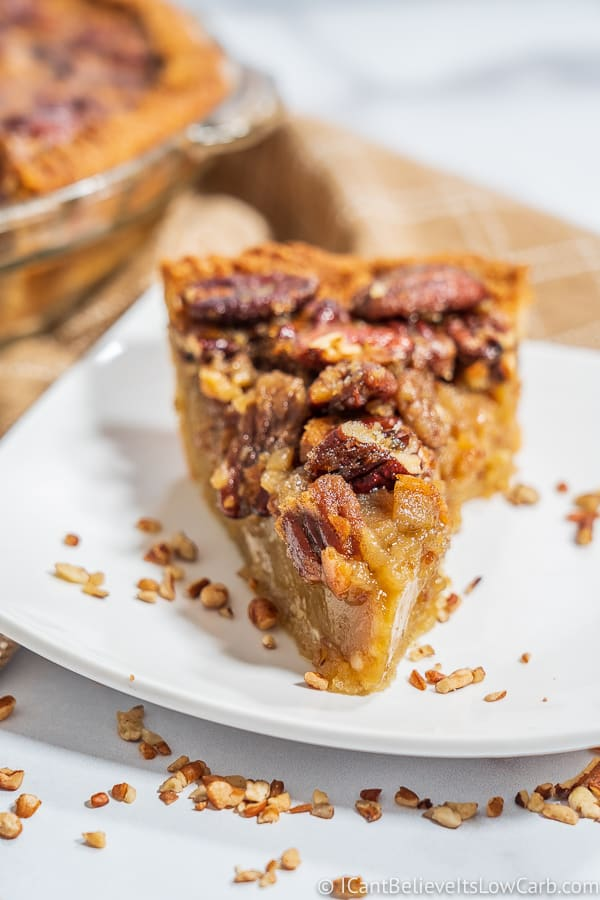 Slice of Keto Pecan Pie on a plate