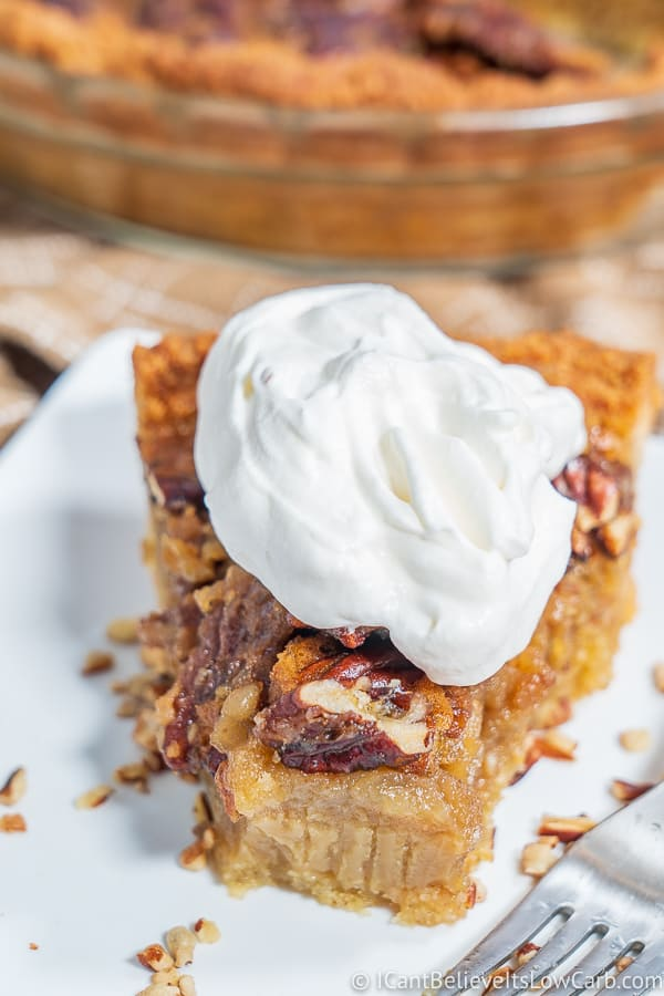 Low Carb Pecan Pie Slice with sugar free whipped cream