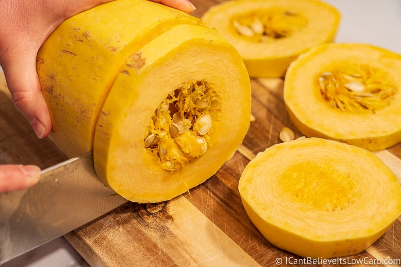 how to cut Spaghetti Squash into rings