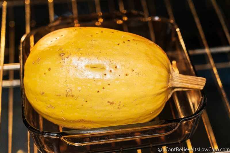 Whole Spaghetti Squash cooking in the oven