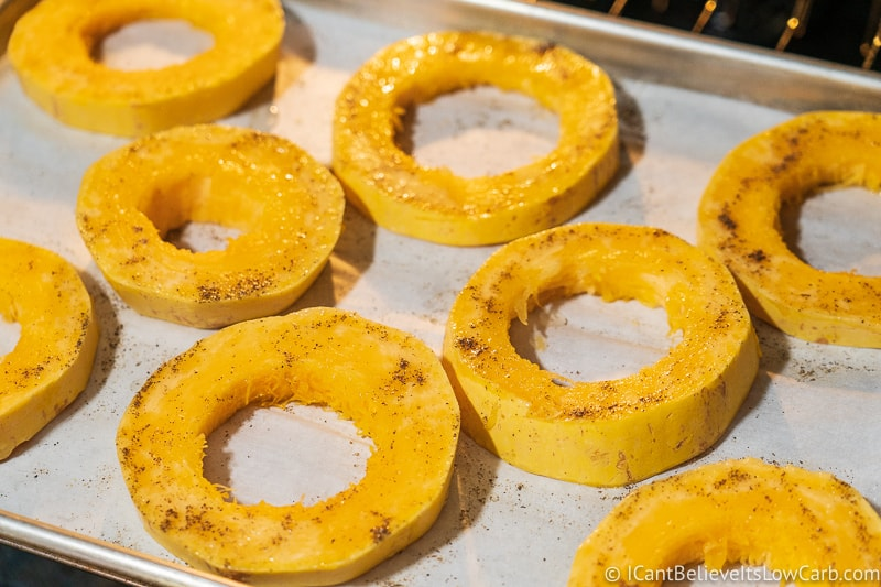 Spaghetti Squash rings baking in the oven