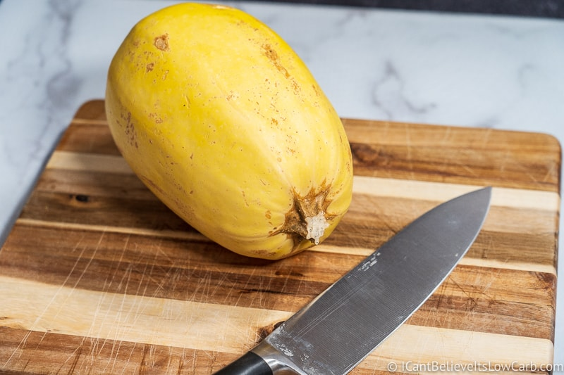 Spaghetti Squash on a board