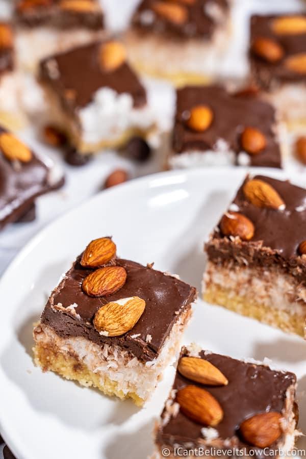 Keto Almond Joy Bars on a plate