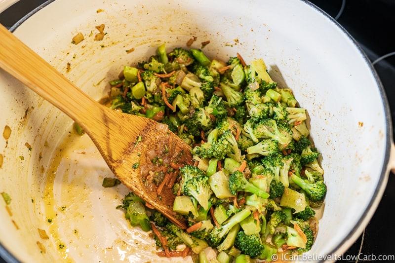 sautéing Broccoli Cheddar Soup