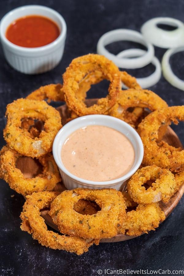 Basket of Keto Onion Rings