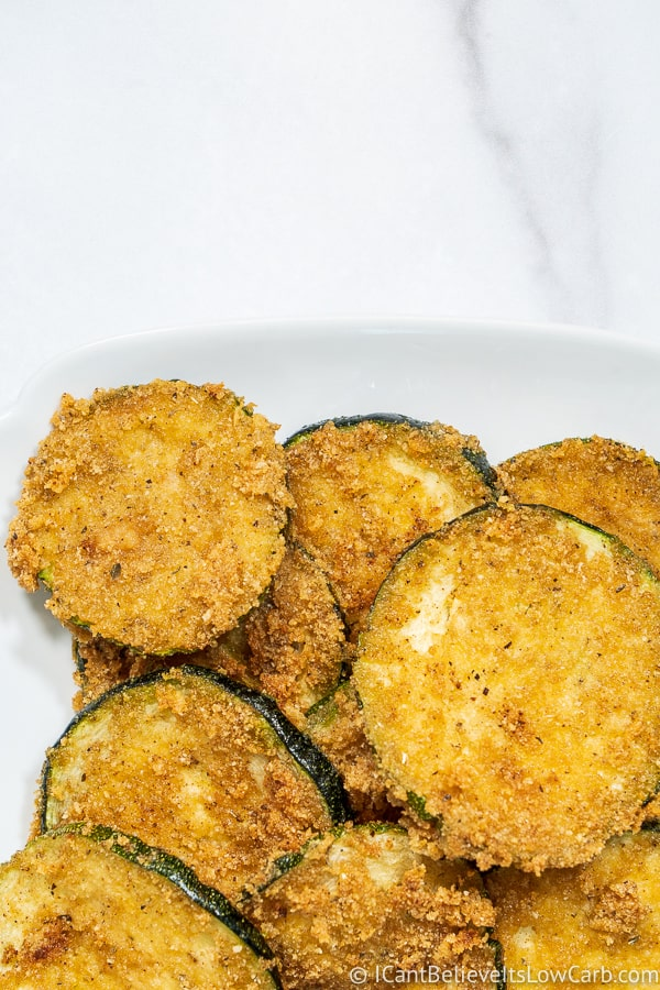 low carb Fried Zucchini on a plate