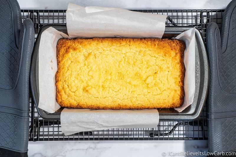 freshly baked Keto Lemon Pound Cake on the table