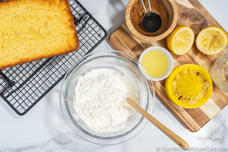 preparing sugar free lemon icing for Lemon Pound Cake