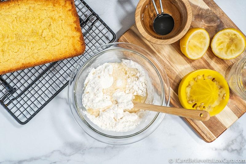 mixing ingredients for sugar free icing for Keto Lemon Pound Cake