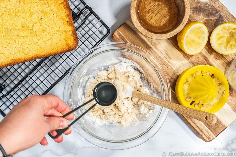 preparing Keto lemon icing