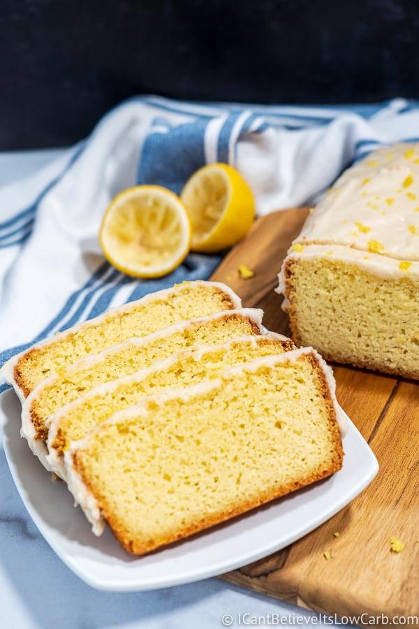 Keto Lemon Pound Cake on plate