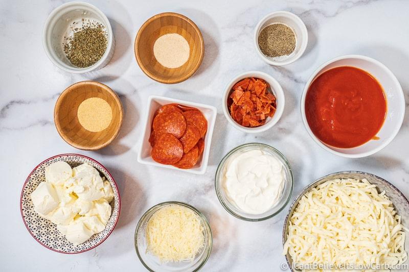 Keto Pizza Dip ingredients