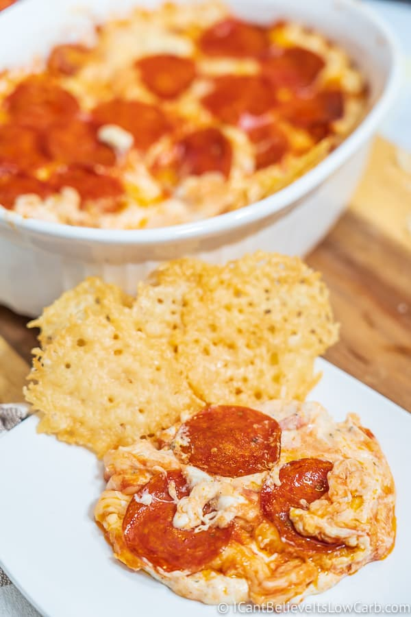 easy Keto Pizza Dip with cheese crackers