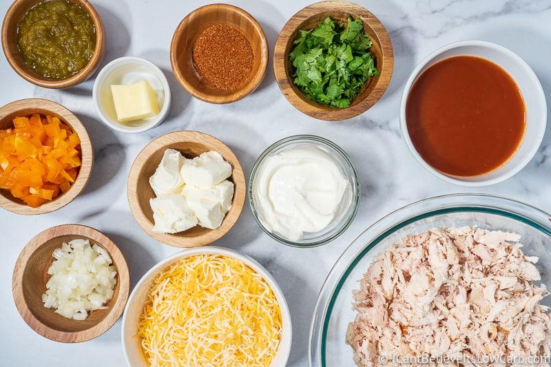 Keto Chicken Enchilada Casserole ingredients