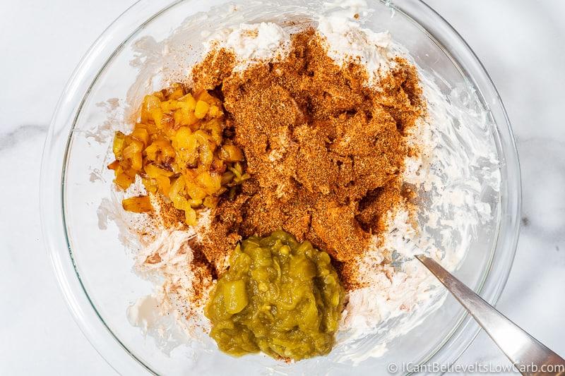 Chicken Enchilada Casserole all ingredients in bowl