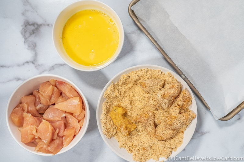 low carb Chicken Nuggets recipe preparing