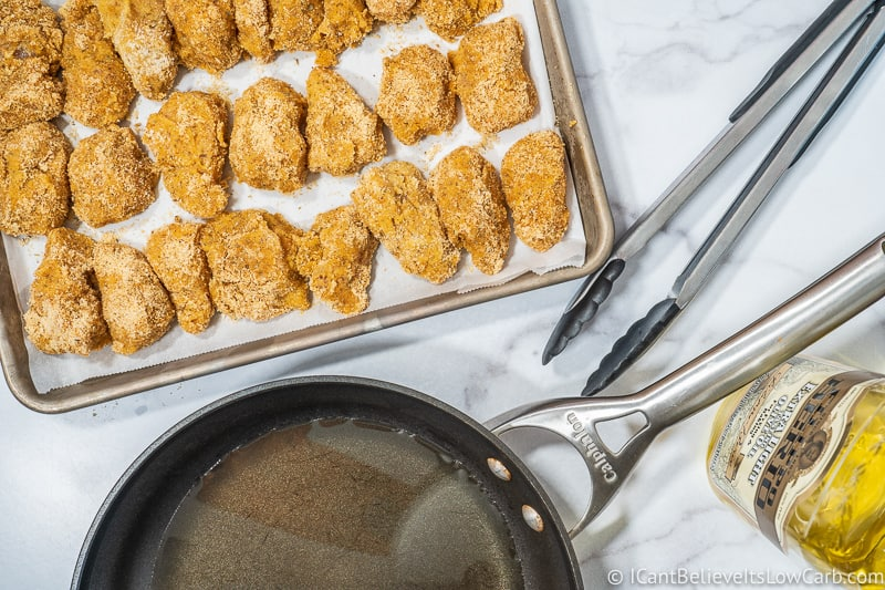 Low Carb Chicken Nuggets on tray ready to fry