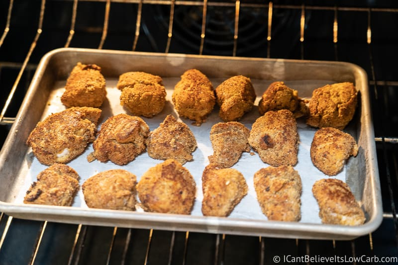 Keto Chicken Nuggets baking in the oven