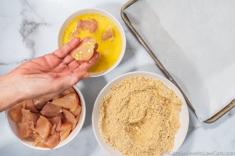 dipping chicken in egg for low carb Chicken Nuggets