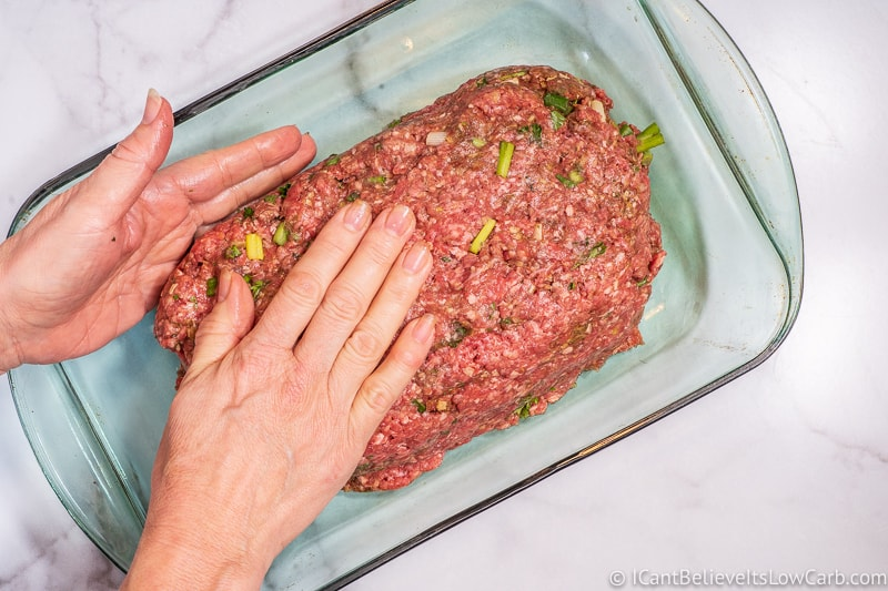 making Keto Meatloaf into a loaf
