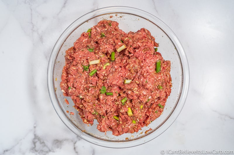 mixing Keto Meatloaf meat