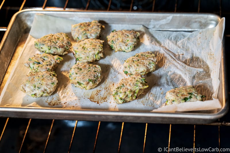 Baking Chicken Zucchini Poppers in the oven