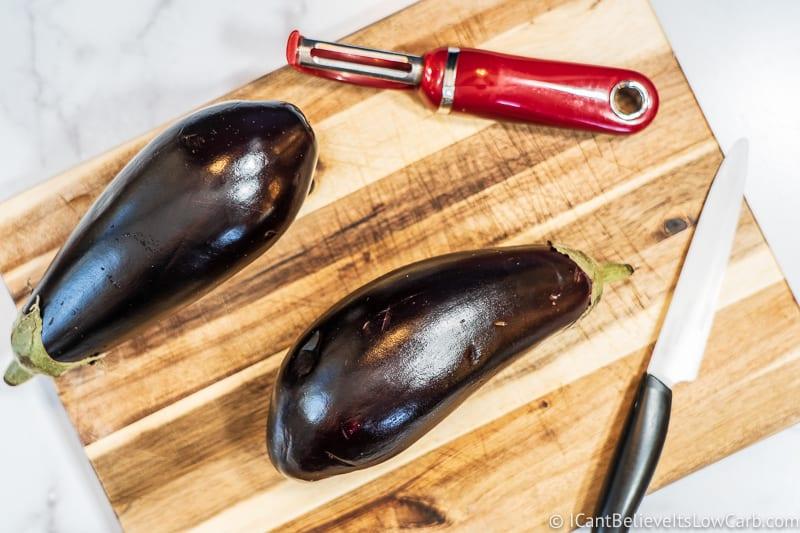 getting ready to prepare Eggplant Parmesan