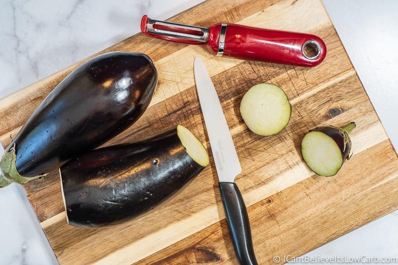 Cutting Eggplant on cutting board