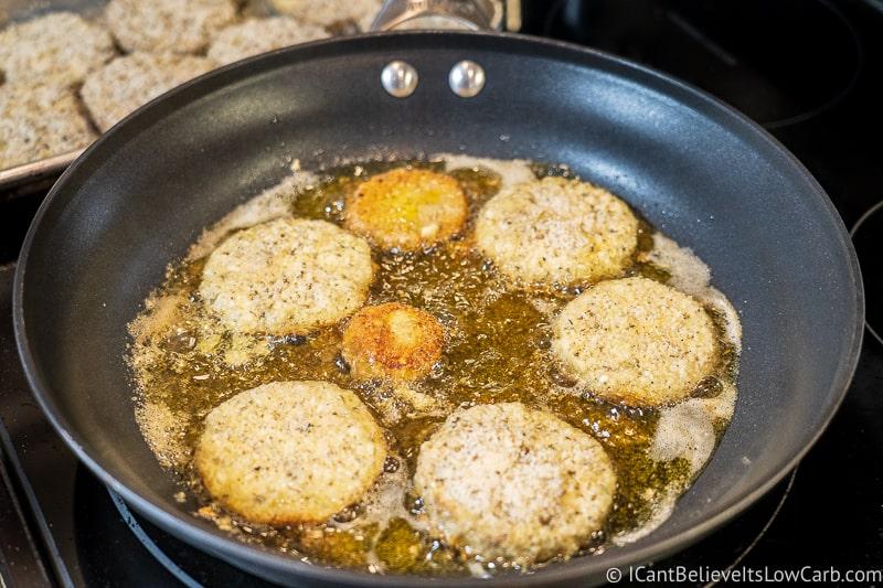 how to fry Keto Eggplant Parmesan