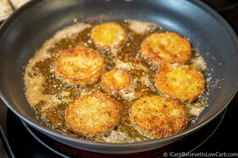 perfectly fried Keto Eggplant Parmesan