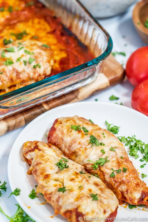easy Low Carb Keto Chicken Parmesan on a dish