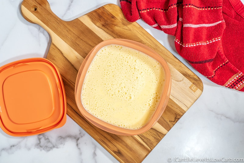 Transferring Keto Ice Cream liquid into plastic container