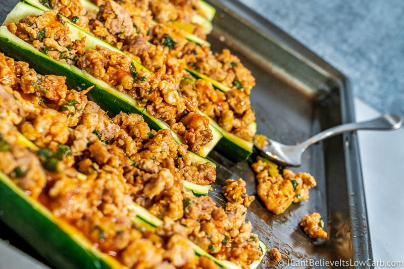stuffed Keto Zucchini Boats on tray