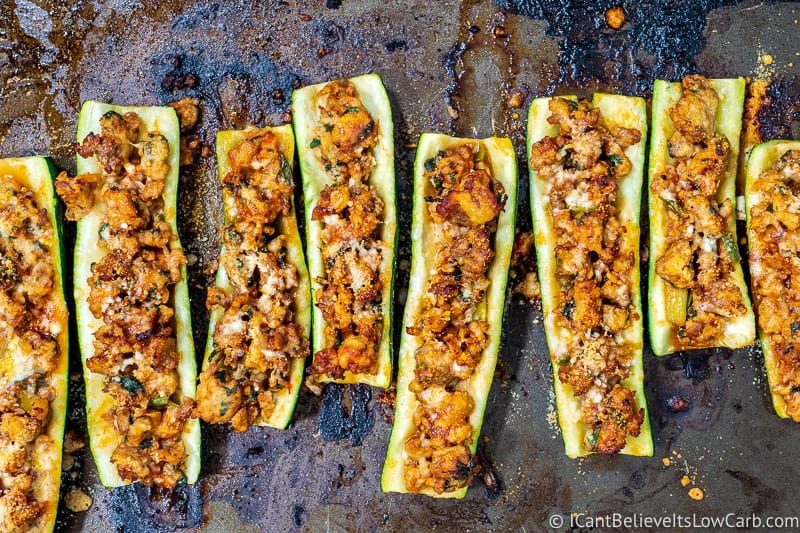 making stuffed Zucchini Boats